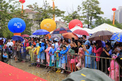 Mass in the rain watching the opening ceremony Royalty Free Stock Images