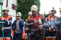 Mass rally in defense of the miners in Langreo Royalty Free Stock Photography