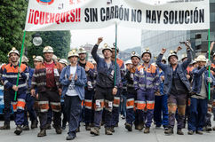 Mass rally in defense of the miners in Langreo Stock Photo