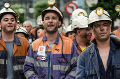 Mass rally in defense of the miners in Langreo Stock Photos