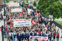 Mass rally in defense of the miners in Langreo Royalty Free Stock Images