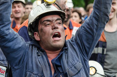 Mass rally in defense of the miners in Langreo Stock Photography