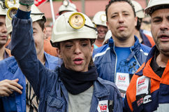 Mass rally in defense of the miners in Langreo Stock Image