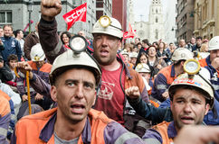 Mass rally in defense of the miners in Langreo Royalty Free Stock Photos