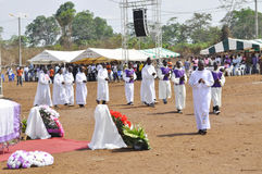 MASS OF REQUIEM OF THE MOTHER OF THE PRESIDENT LAURENT GBAGBO. Image of the priests of the Archdiocese of Gagnoa celebrating the mass of requiem of the mother of Stock Photos