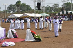 MASS OF REQUIEM OF THE MOTHER OF THE PRESIDENT LAURENT GBAGBO. Image of the priests of the Archdiocese of Gagnoa celebrating the mass of requiem of the mother of Royalty Free Stock Photography