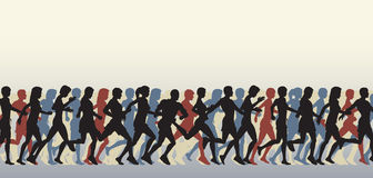 Mass runners. Editable  foreground of people running with all figures as separate elements Stock Photography