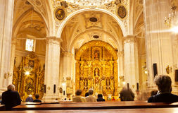 Mass in San Lorenzo church, Burgos, Spain Royalty Free Stock Image