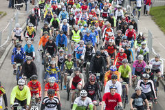 Mass sart of Riga Cycling Marathon Folk Distance Stock Photo