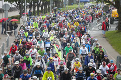 Mass sart of Riga Cycling Marathon Folk Distance Royalty Free Stock Photos