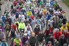 Mass sart of Riga Cycling Marathon Folk Distance Stock Photos