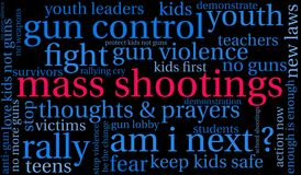 Mass Shootings Word Cloud stock illustration