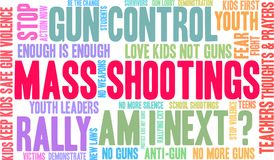 Mass Shootings Word Cloud. On a white background Royalty Free Stock Photography