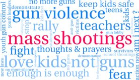 Mass Shootings Word Cloud. On a white background Stock Images