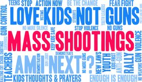 Mass Shootings Word Cloud. On a white background stock illustration