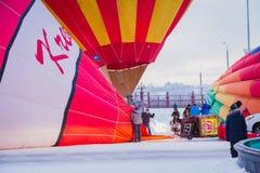 Mass-start on the festival of hot air ballons. NIZHNY NOVGOROD, RUSSIA - FEBRUARY 24, 2018. Mass-start on the festival of hot air ballons Royalty Free Stock Photos
