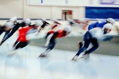 Mass start men athletes ice skaters Royalty Free Stock Photo