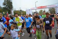 Mass start runners Stock Photo