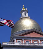 Mass statehouse. Close up of gold dome from Massachusetts state house in Boston Stock Photos