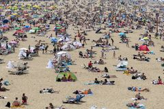 Mass summer tourists on the European beaches