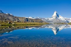 Mass tourism at the Matterhorn. In the swiss alps Stock Photography