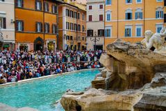 Crowds at Trevi Fountain Block Traffic Stock Photo