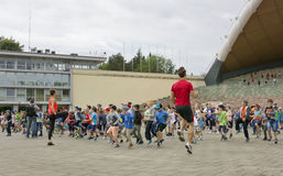 Mass training of young sportsmens Stock Photo