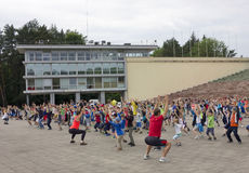 Mass training of young sportsmens Royalty Free Stock Images