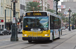 Mass Transit Bus. Modern mass transit bus on the downtown city streets of New Orleans, Louisiana, USA Stock Photography