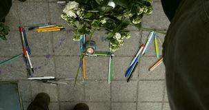 Mass unity rally held in Strasbourg following recent terrorist attacks. STRASBOURG, FRANCE - 11 JAN, 2015:   Charlie word made from pencils during a unity rally stock video