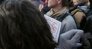 Mass unity rally held in Strasbourg following recent terrorist attacks. STRASBOURG, FRANCE - 11 JAN, 2015:  Women holding placards reading 'From all my heart' stock video