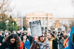 Mass unity rally held in Strasbourg following recent terrorist a Royalty Free Stock Images