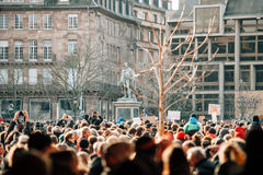 Mass unity rally held in Strasbourg following recent terrorist a. STRASBOURG, FRANCE - 11 JAN, 2015:  People gather for a unity rally (Marche Republicaine) in Royalty Free Stock Photography