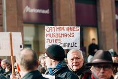 Mass unity rally held in Strasbourg following recent terrorist a Stock Photo