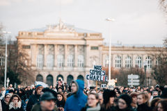 Mass unity rally held in Strasbourg following recent terrorist a Royalty Free Stock Photography