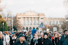 Mass unity rally held in Strasbourg following recent terrorist a Royalty Free Stock Image