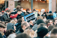 Mass unity rally held in Strasbourg following recent terrorist a Stock Image