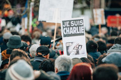 Mass unity rally held in Strasbourg following recent terrorist a Stock Photography