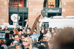Mass unity rally held in Strasbourg following recent terrorist a Royalty Free Stock Photos