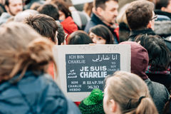 Mass unity rally held in Strasbourg following recent terrorist a Stock Images