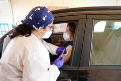 Free Mass Vaccination Campaign, Inoculation Of Vaccine In The Car Royalty Free Stock Photo - 216011735