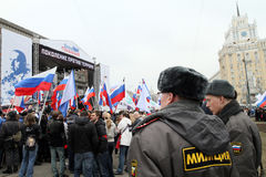 Mass youth action on the Triumphal Square Stock Photos