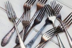 Massa av gamla gafflar Royaltyfri Bild