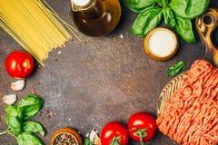 Massa bolonhesa que cozinha o conceito: carne triturada crua, tomates, massa, Parmesão, alho, manjericão, azeite fotos de stock
