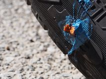 Car tyre puncture repair, not beautiful but a practical solution to thorn stuck. Car tyre puncture repair, not beautiful but a practical solution to a thorn royalty free stock image