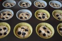 Massa caseiro do muffin de blueberry Imagens de Stock