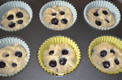 Massa caseiro do muffin de blueberry Fotografia de Stock