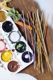Massa colorida pintada na escova diferente da cor Fotografia de Stock