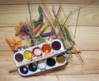 Massa colorida pintada na escova diferente da cor Foto de Stock Royalty Free