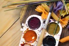 Massa colorida pintada na escova diferente da cor Imagens de Stock Royalty Free
